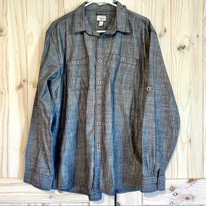 Bass Grey Denim Long Sleeve Collared Shirt XL